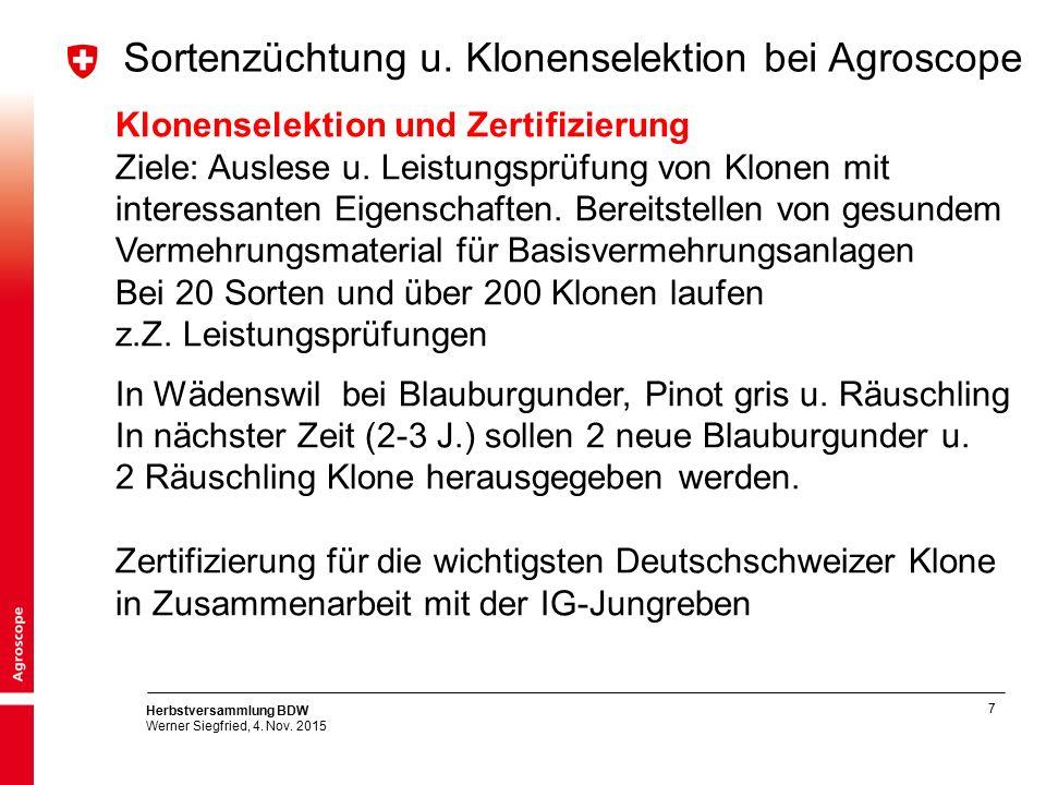 7 Herbstversammlung BDW Werner Siegfried, 4. Nov. 2015 Sortenzüchtung u. Klonenselektion bei Agroscope Klonenselektion und Zertifizierung Ziele: Ausle
