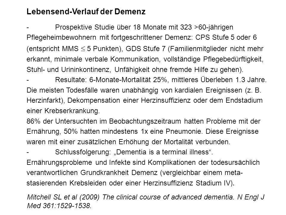 Lebensend-Verlauf der Demenz - Prospektive Studie über 18 Monate mit 323 >60-jährigen Pflegeheimbewohnern mit fortgeschrittener Demenz: CPS Stufe 5 od