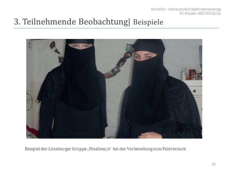 """3. Teilnehmende Beobachtung  Beispiele 10 Beispiel der Lüneburger Gruppe """"Muslime/a"""" bei der Vorbereitung zum Feldversuch DiverCity – interkulturelle"""