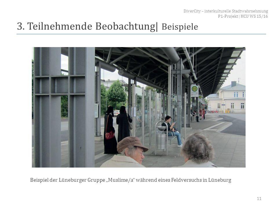 """3. Teilnehmende Beobachtung  Beispiele 11 Beispiel der Lüneburger Gruppe """"Muslime/a"""" während eines Feldversuchs in Lüneburg DiverCity – interkulturell"""