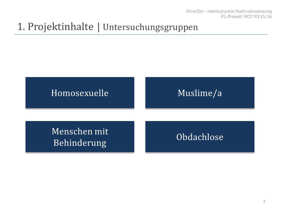 1. Projektinhalte   Untersuchungsgruppen 3 Homosexuelle Menschen mit Behinderung Muslime/a Obdachlose DiverCity – interkulturelle Stadtwahrnehmung P1-
