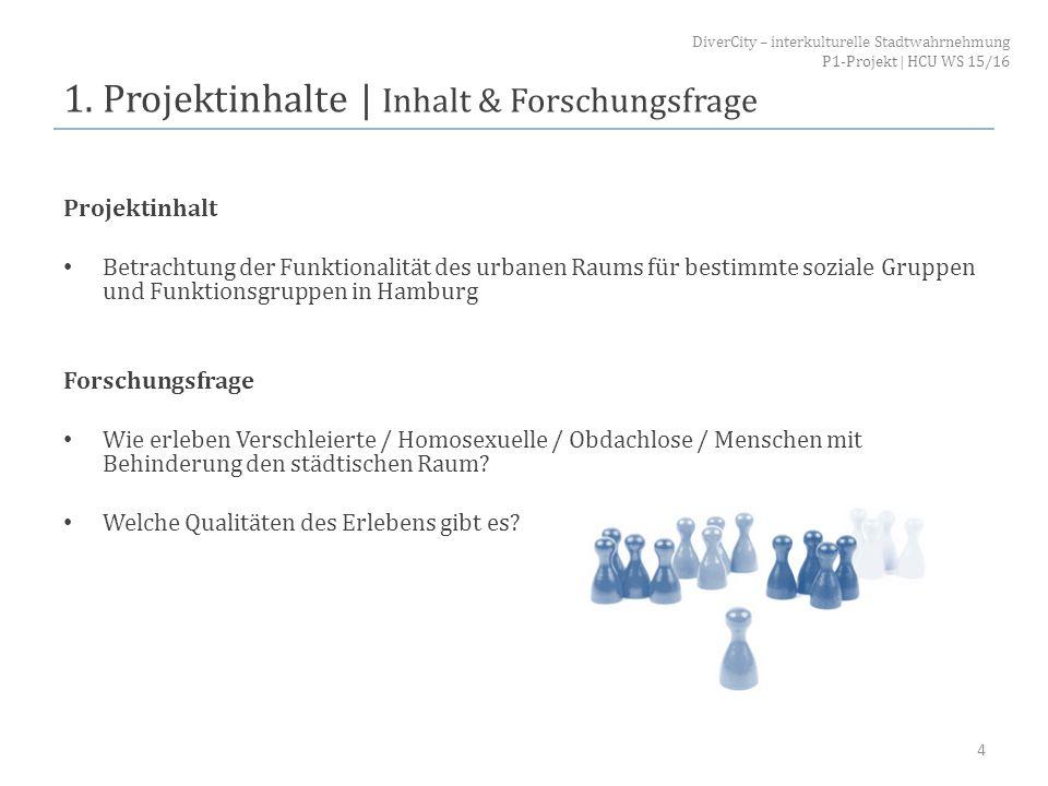 1. Projektinhalte   Inhalt & Forschungsfrage Projektinhalt Betrachtung der Funktionalität des urbanen Raums für bestimmte soziale Gruppen und Funktion