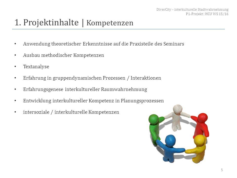 1. Projektinhalte | Kompetenzen Anwendung theoretischer Erkenntnisse auf die Praxisteile des Seminars Ausbau methodischer Kompetenzen Textanalyse Erfa