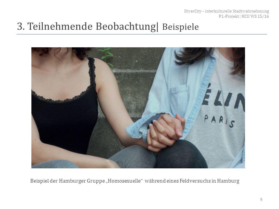 """3. Teilnehmende Beobachtung  Beispiele 9 Beispiel der Hamburger Gruppe """"Homosexuelle"""" während eines Feldversuchs in Hamburg DiverCity – interkulturell"""