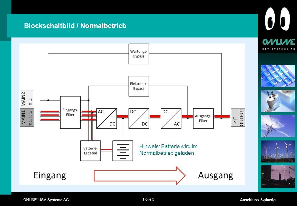 Folie 5 ONLINE USV-Systeme AG Anschluss 3-phasig Blockschaltbild / Normalbetrieb Hinweis: Batterie wird im Normalbetrieb geladen