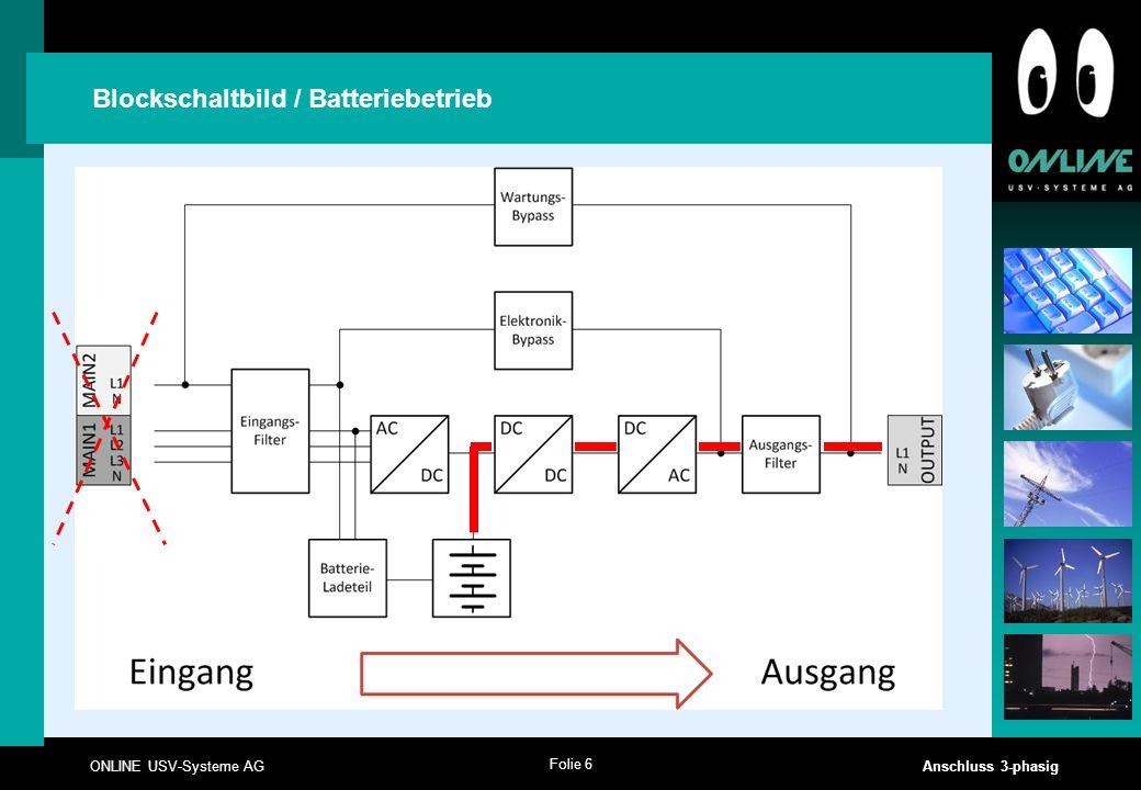 Folie 6 ONLINE USV-Systeme AG Anschluss 3-phasig Blockschaltbild / Batteriebetrieb