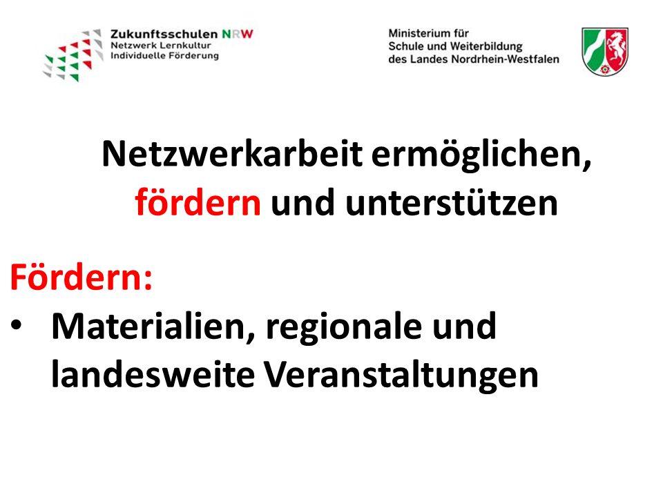 Netzwerkarbeit ermöglichen, fördern und unterstützen Fördern: Materialien, regionale und landesweite Veranstaltungen Materialien, regionale und landesweite Veranstaltungen