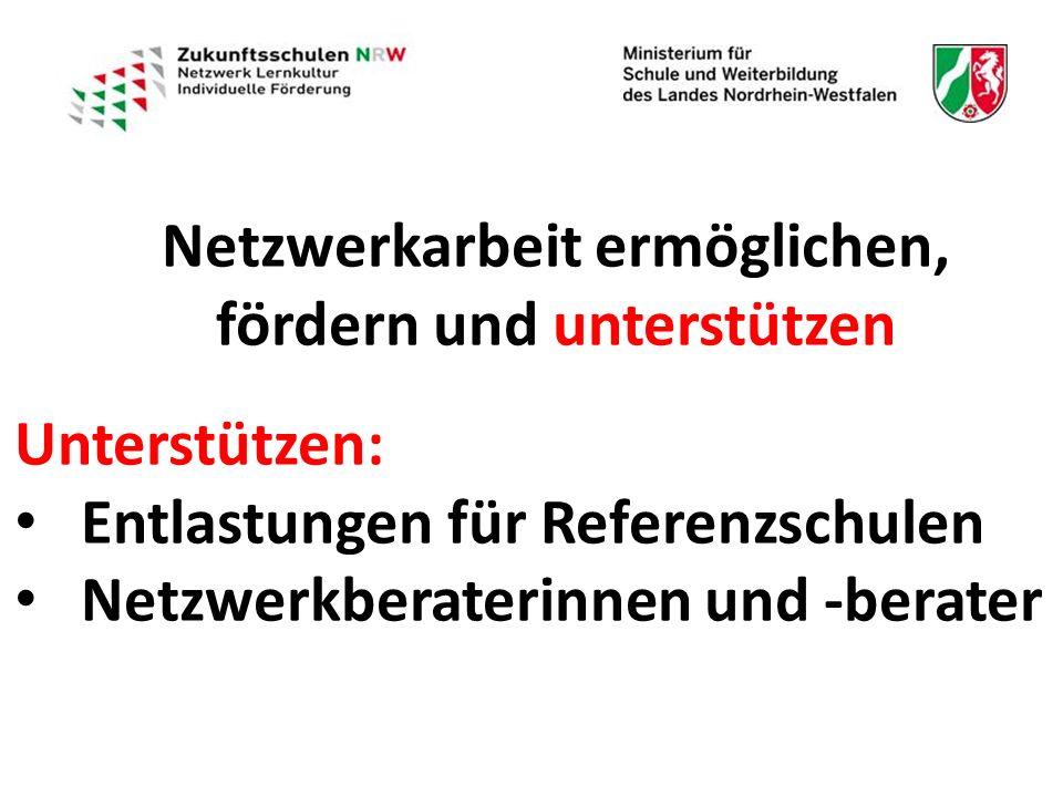 Netzwerkarbeit ermöglichen, fördern und unterstützen Unterstützen: Entlastungen für Referenzschulen Netzwerkberaterinnen und -berater