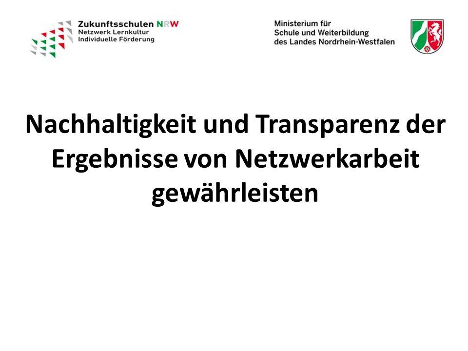 Nachhaltigkeit und Transparenz der Ergebnisse von Netzwerkarbeit gewährleisten