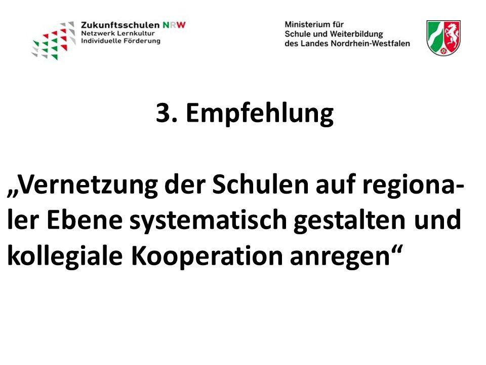 """3. Empfehlung """"Vernetzung der Schulen auf regiona- ler Ebene systematisch gestalten und kollegiale Kooperation anregen"""""""