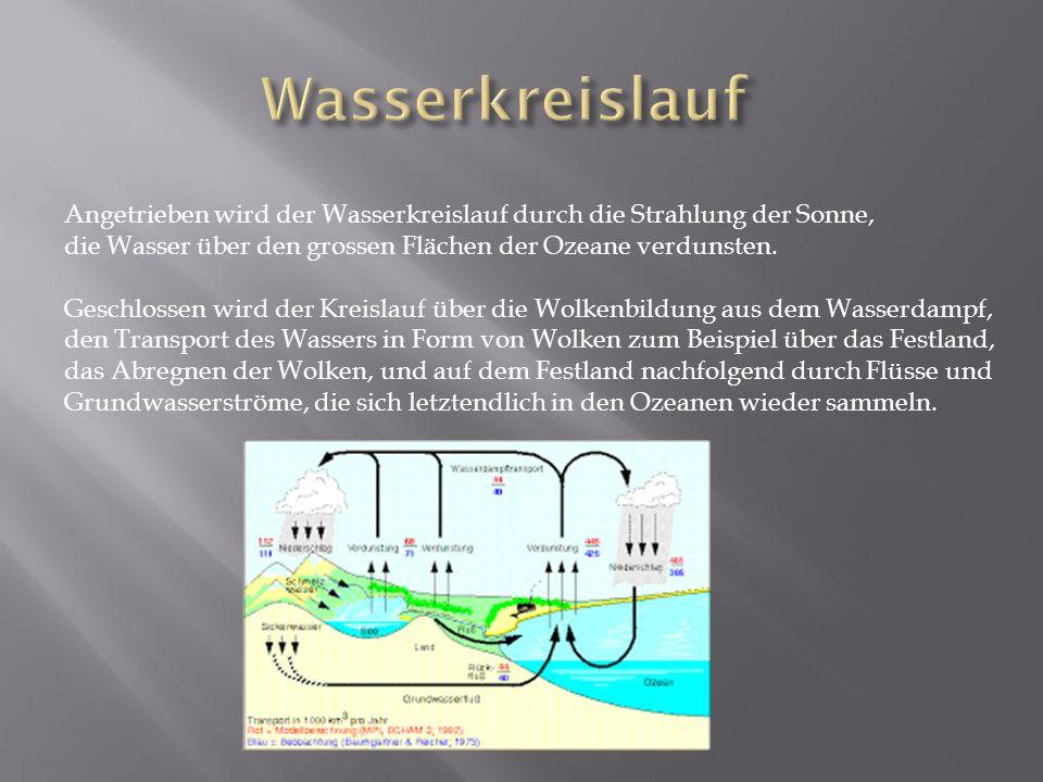 Angetrieben wird der Wasserkreislauf durch die Strahlung der Sonne, die Wasser über den grossen Flächen der Ozeane verdunsten.