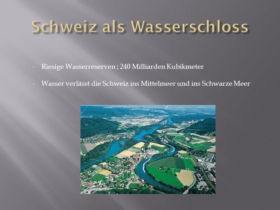 -Riesige Wasserreserven ; 240 Milliarden Kubikmeter -Wasser verlässt die Schweiz ins Mittelmeer und ins Schwarze Meer