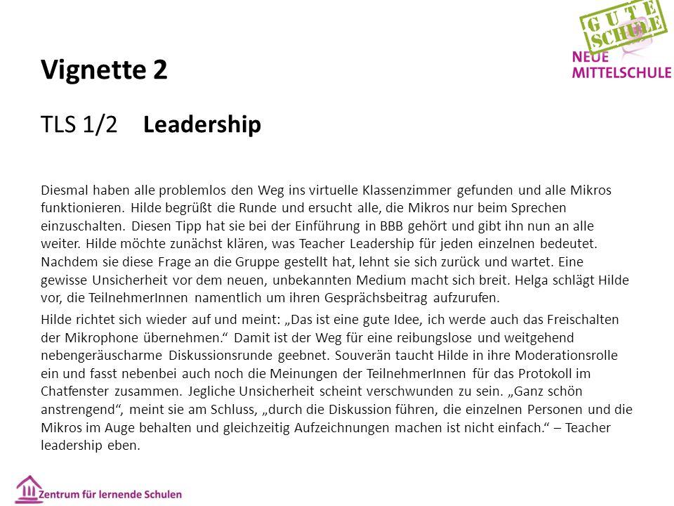 Vignette 2 TLS 1/2 Leadership Diesmal haben alle problemlos den Weg ins virtuelle Klassenzimmer gefunden und alle Mikros funktionieren. Hilde begrüßt