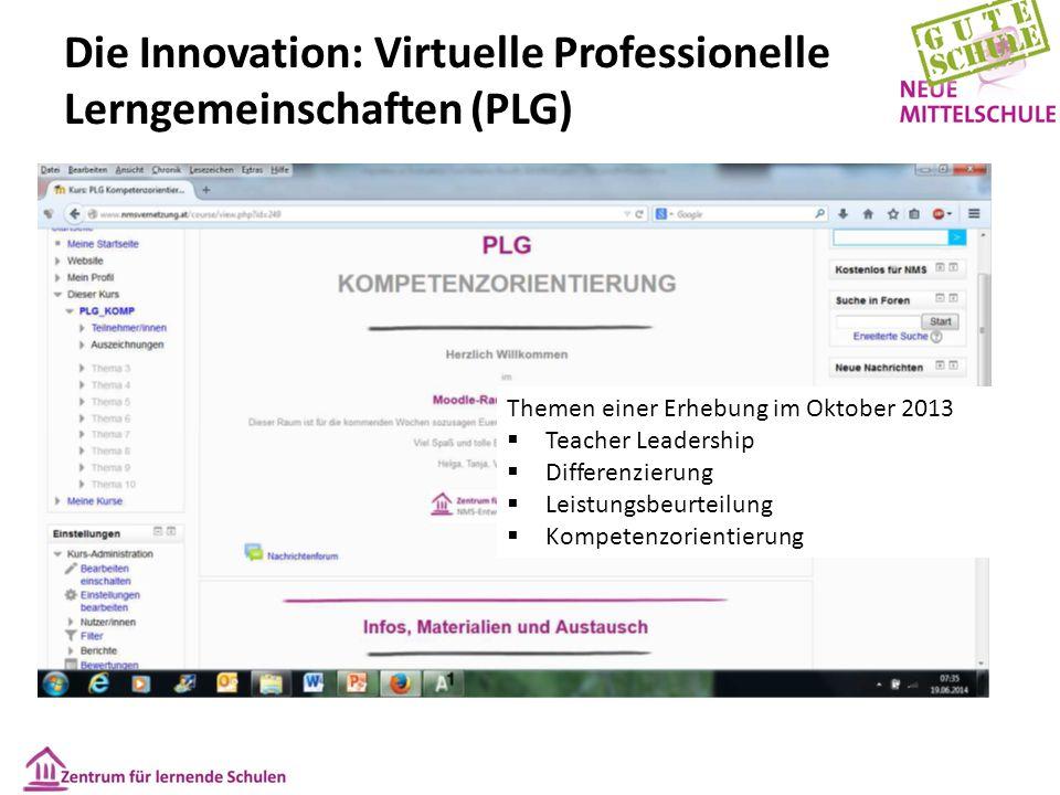 Die Innovation: Virtuelle Professionelle Lerngemeinschaften (PLG) Themen einer Erhebung im Oktober 2013  Teacher Leadership  Differenzierung  Leist