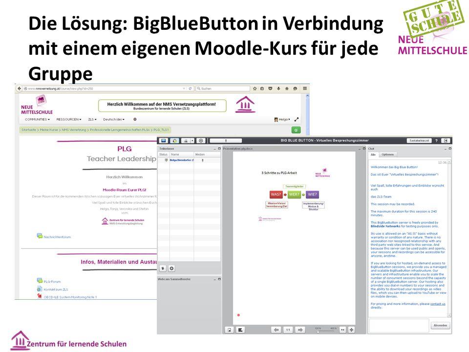 Die Lösung: BigBlueButton in Verbindung mit einem eigenen Moodle-Kurs für jede Gruppe