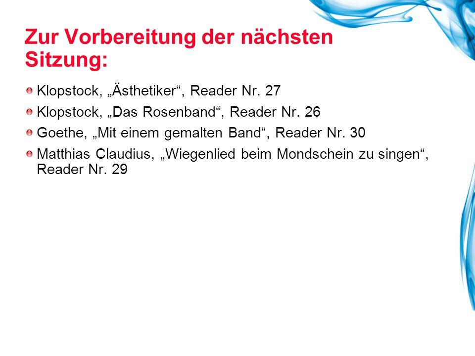 """Klopstock, """"Ästhetiker , Reader Nr.27 Klopstock, """"Das Rosenband , Reader Nr."""