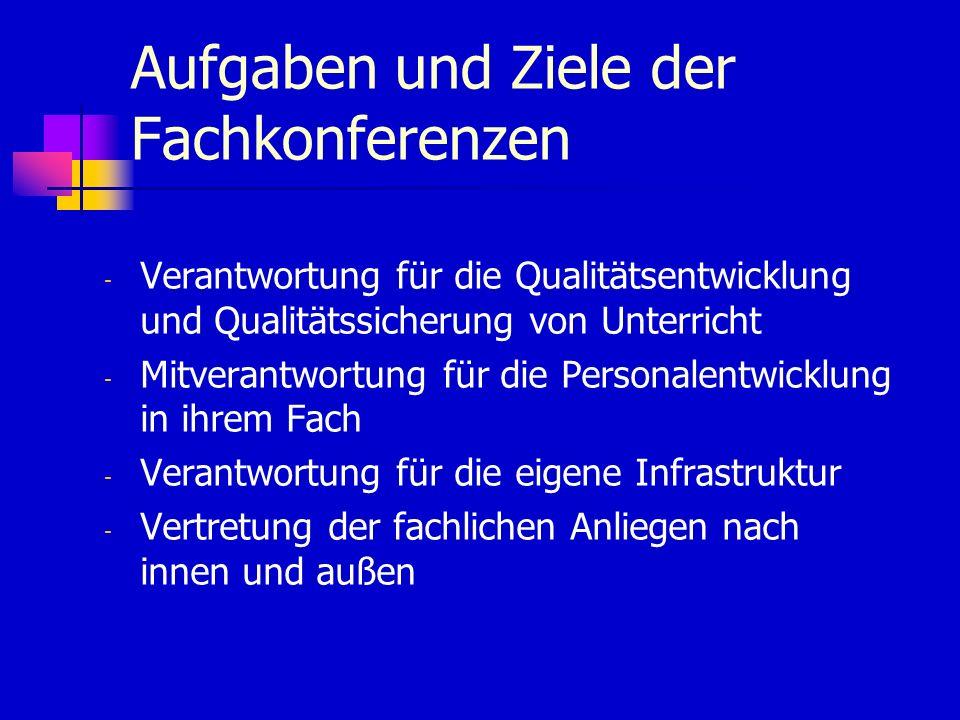 Aufgaben und Ziele der Fachkonferenzen - Verantwortung für die Qualitätsentwicklung und Qualitätssicherung von Unterricht - Mitverantwortung für die Personalentwicklung in ihrem Fach - Verantwortung für die eigene Infrastruktur - Vertretung der fachlichen Anliegen nach innen und außen