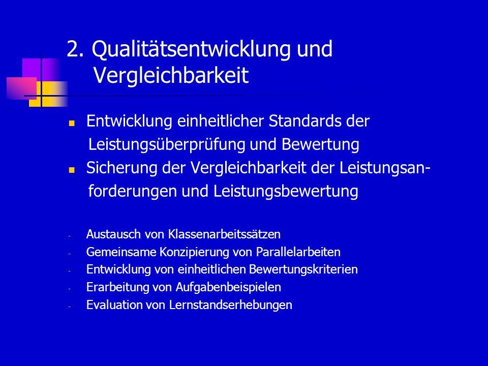 2. Qualitätsentwicklung und Vergleichbarkeit Entwicklung einheitlicher Standards der Leistungsüberprüfung und Bewertung Sicherung der Vergleichbarkeit