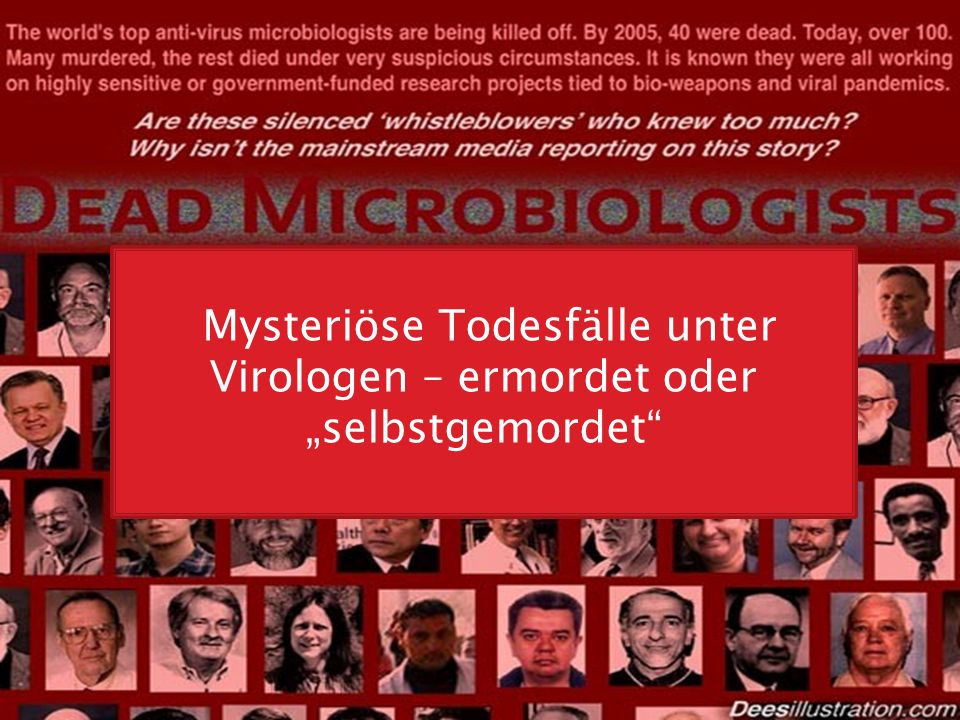 "Mysteriöse Todesfälle unter Virologen – ermordet oder ""selbstgemordet"""