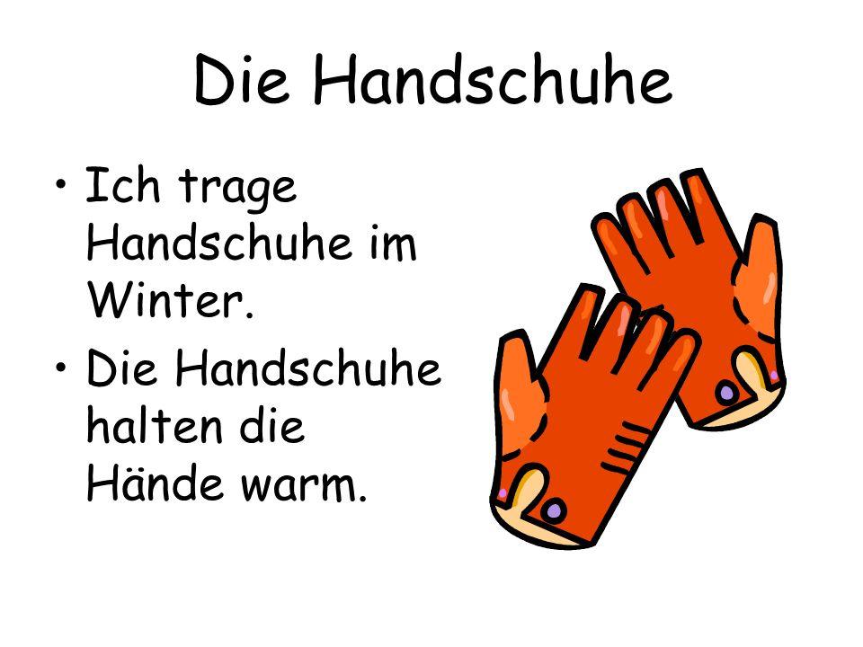 Die Handschuhe Ich trage Handschuhe im Winter. Die Handschuhe halten die Hände warm.