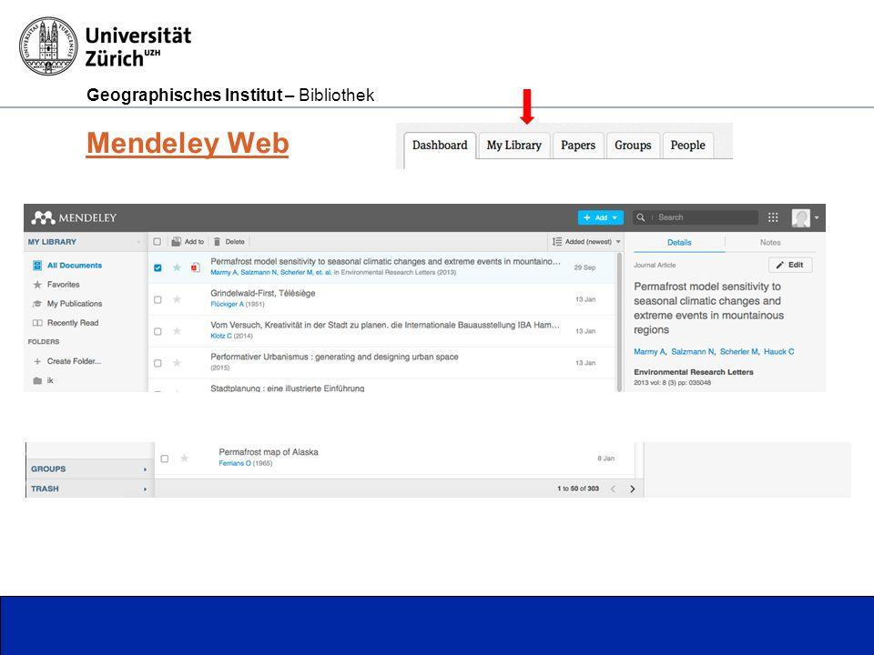 Geographisches Institut – Bibliothek Seite 10 Mendeley Web
