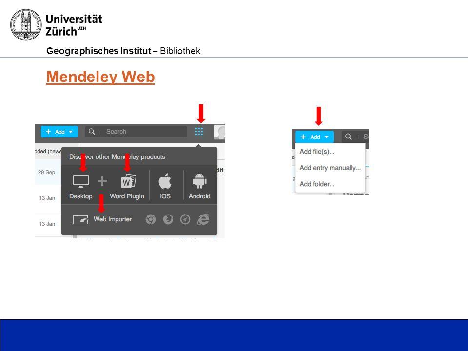 Geographisches Institut – Bibliothek Seite 11 Mendeley Web