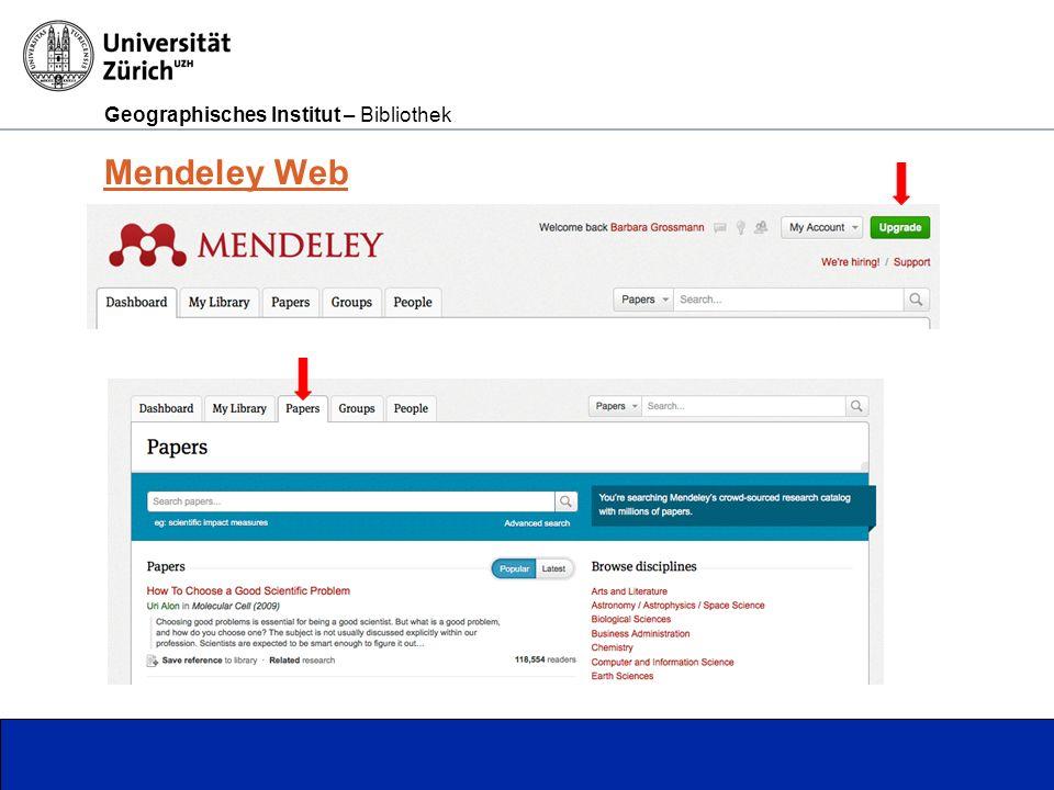 Geographisches Institut – Bibliothek Seite 7 Mendeley Web