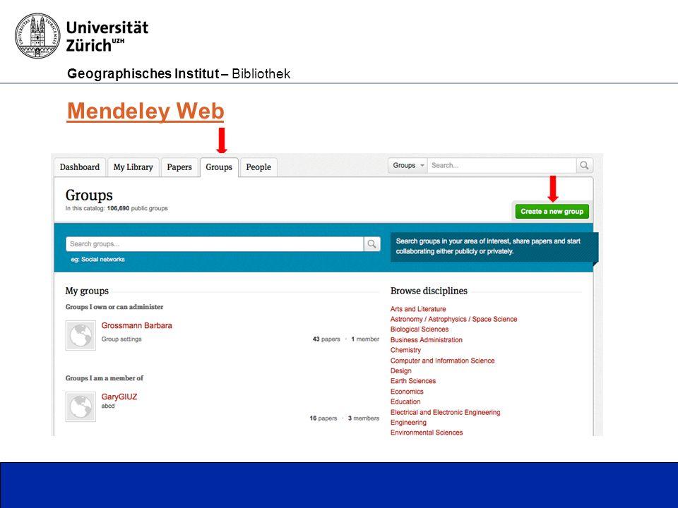 Geographisches Institut – Bibliothek Seite 8 Mendeley Web