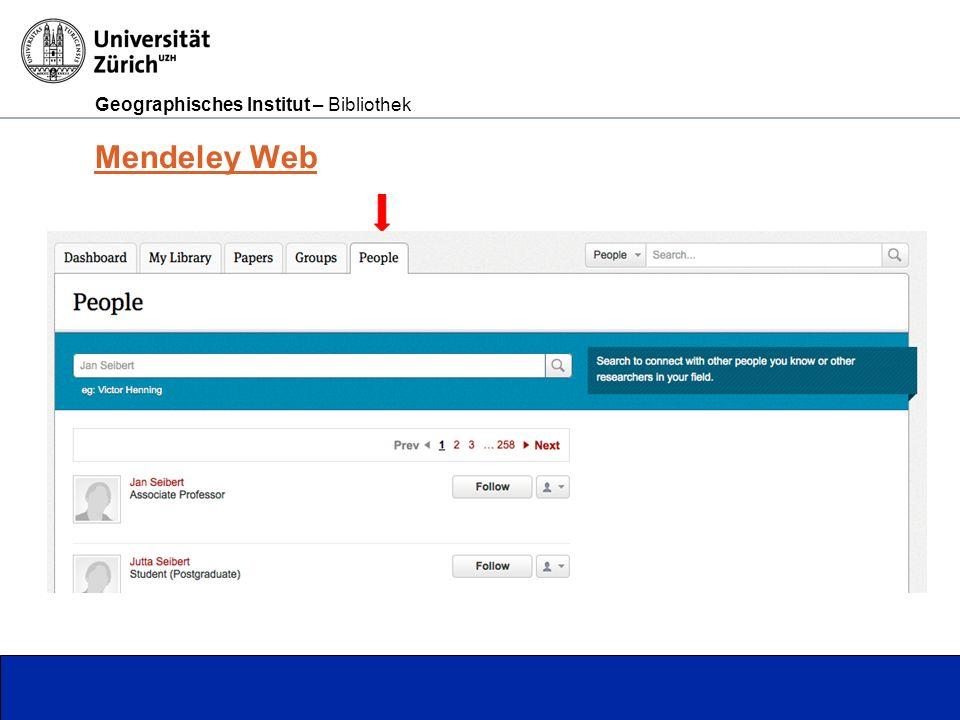 Geographisches Institut – Bibliothek Seite 9 Mendeley Web