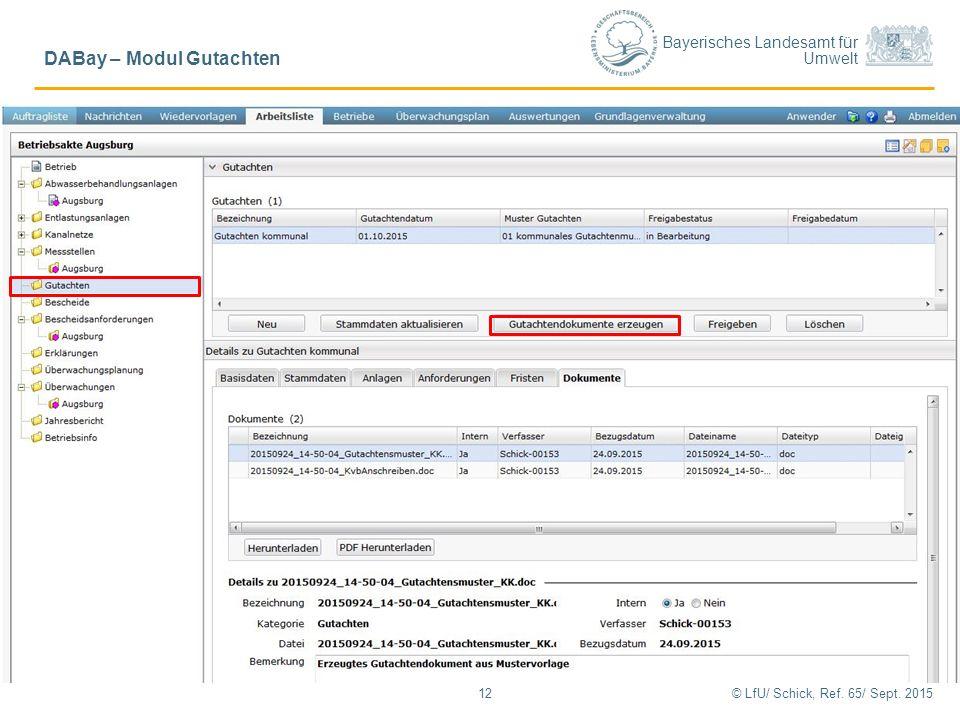 """Bayerisches Landesamt für Umwelt 12© LfU/ Schick, Ref. 65/ Sept. 2015 DABay – Modul Gutachten Reiter """"Dokumente"""" - Erstellung Gutachtendokument"""
