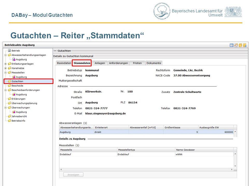 """Bayerisches Landesamt für Umwelt © LfU/ Schick, Ref. 65/ Sept. 20154 DABay – Modul Gutachten Gutachten – Reiter """"Stammdaten"""""""