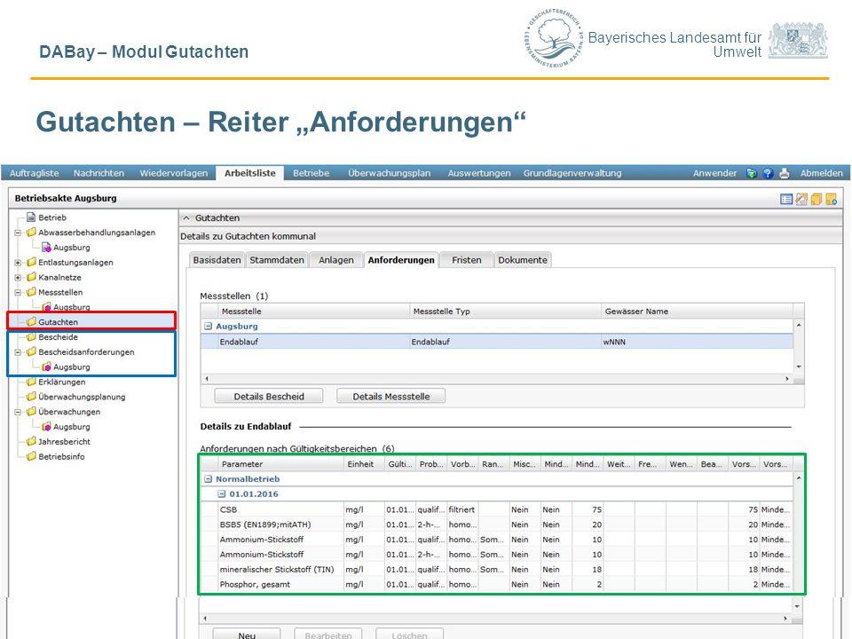 """Bayerisches Landesamt für Umwelt © LfU/ Schick, Ref. 65/ Sept. 20157 DABay – Modul Gutachten Gutachten – Reiter """"Anforderungen"""""""