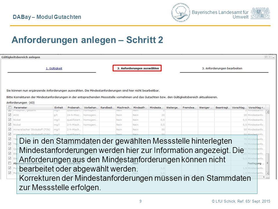 Bayerisches Landesamt für Umwelt © LfU/ Schick, Ref. 65/ Sept. 20159 DABay – Modul Gutachten Anforderungen anlegen – Schritt 2 Die in den Stammdaten d