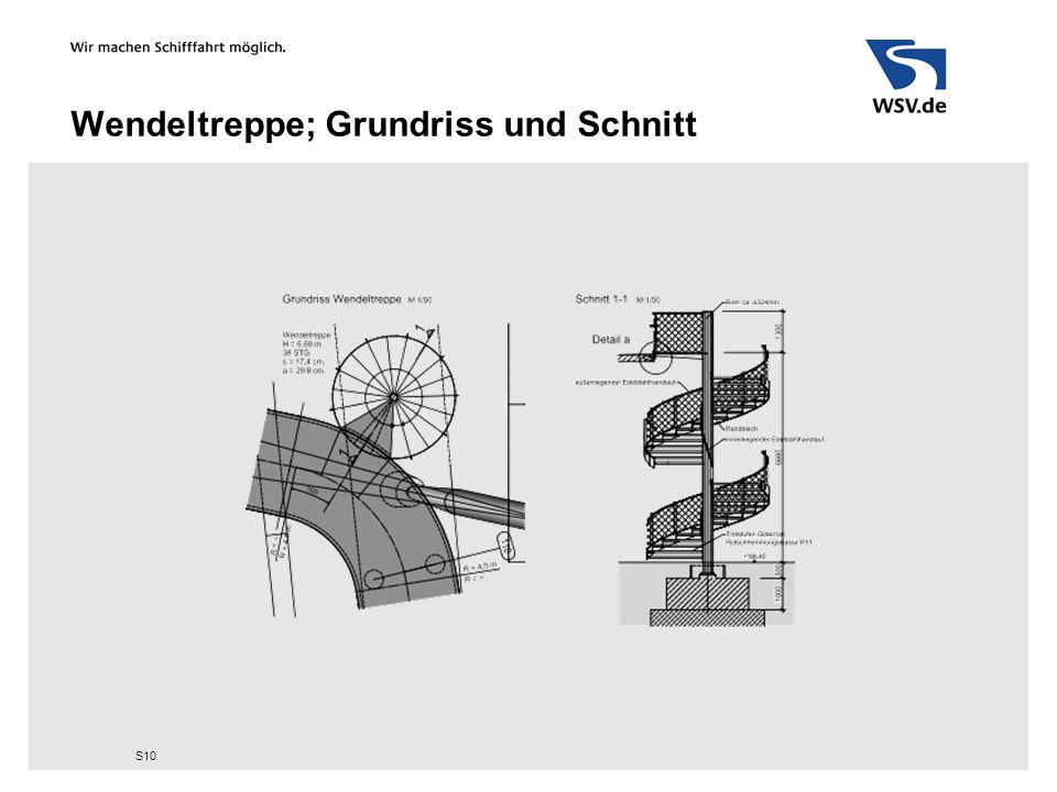 Wendeltreppe; Grundriss und Schnitt S10