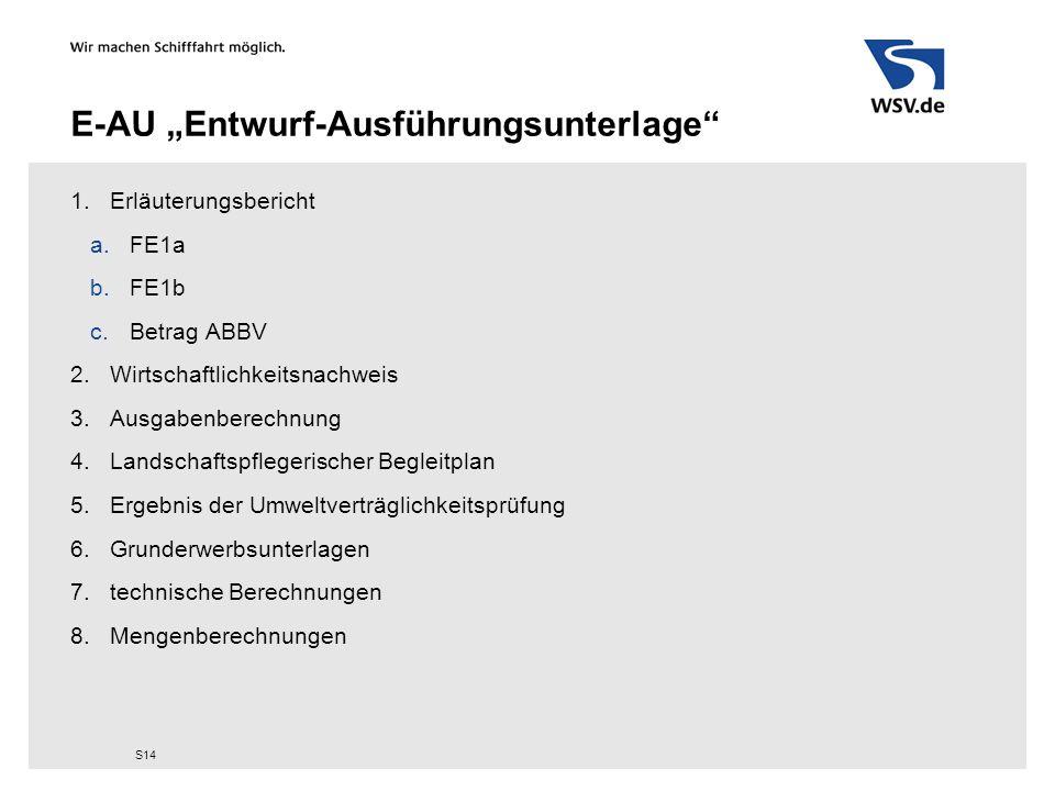 """E-AU """"Entwurf-Ausführungsunterlage"""" 1.Erläuterungsbericht a.FE1a b.FE1b c.Betrag ABBV 2.Wirtschaftlichkeitsnachweis 3.Ausgabenberechnung 4.Landschafts"""