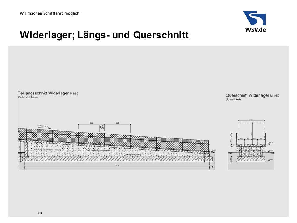 Widerlager; Längs- und Querschnitt S9