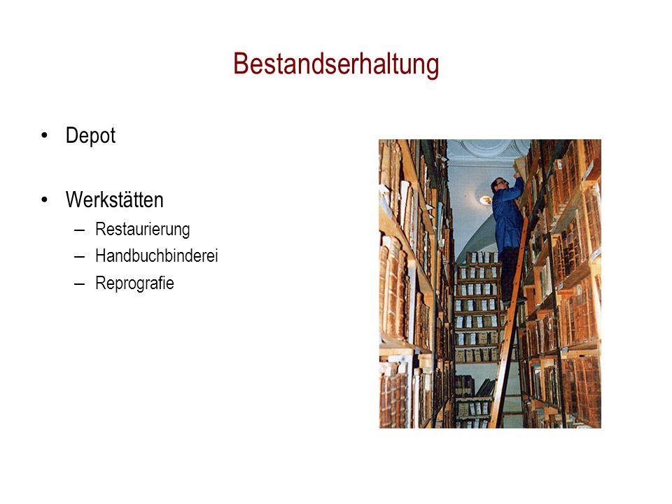 Depot Werkstätten – Restaurierung – Handbuchbinderei – Reprografie