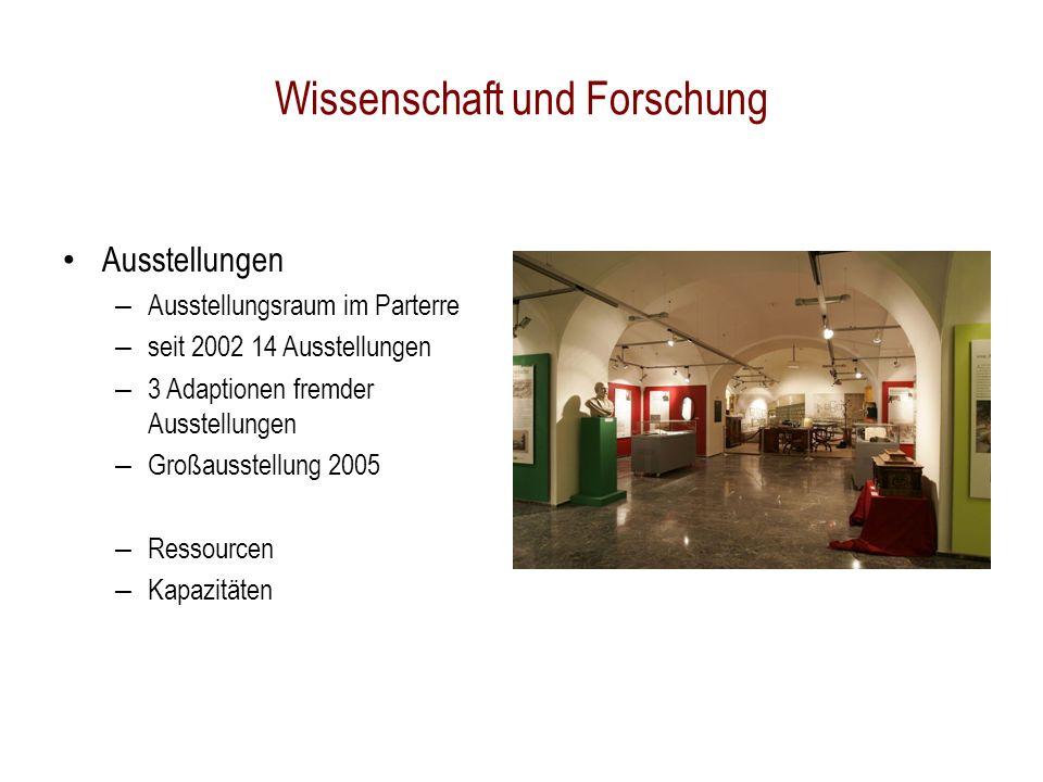 Wissenschaft und Forschung Ausstellungen – Ausstellungsraum im Parterre – seit 2002 14 Ausstellungen – 3 Adaptionen fremder Ausstellungen – Großausstellung 2005 – Ressourcen – Kapazitäten