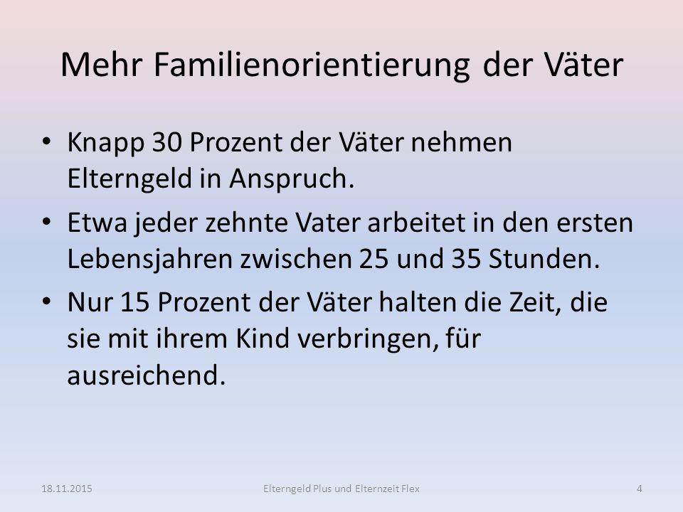 Mehr Familienorientierung der Väter Knapp 30 Prozent der Väter nehmen Elterngeld in Anspruch. Etwa jeder zehnte Vater arbeitet in den ersten Lebensjah