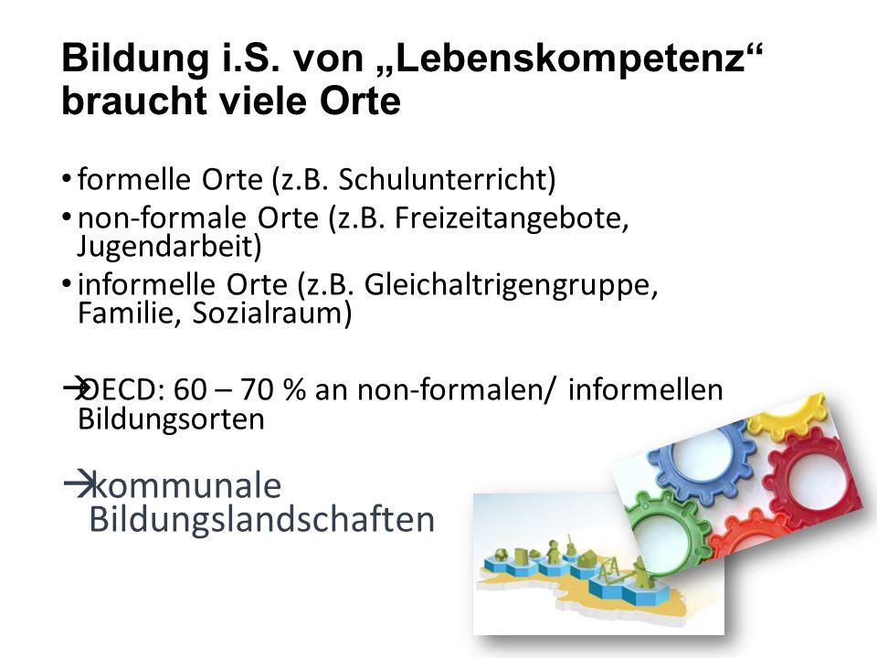 """Bildung i.S. von """"Lebenskompetenz"""" braucht viele Orte formelle Orte (z.B. Schulunterricht) non-formale Orte (z.B. Freizeitangebote, Jugendarbeit) info"""