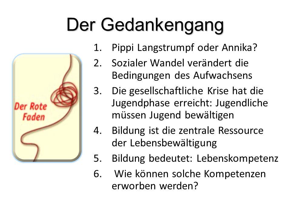 Der Gedankengang 1.Pippi Langstrumpf oder Annika? 2.Sozialer Wandel verändert die Bedingungen des Aufwachsens 3.Die gesellschaftliche Krise hat die Ju