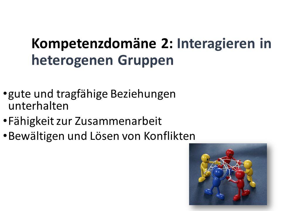 Kompetenzdomäne 2: Interagieren in heterogenen Gruppen gute und tragfähige Beziehungen unterhalten Fähigkeit zur Zusammenarbeit Bewältigen und Lösen v