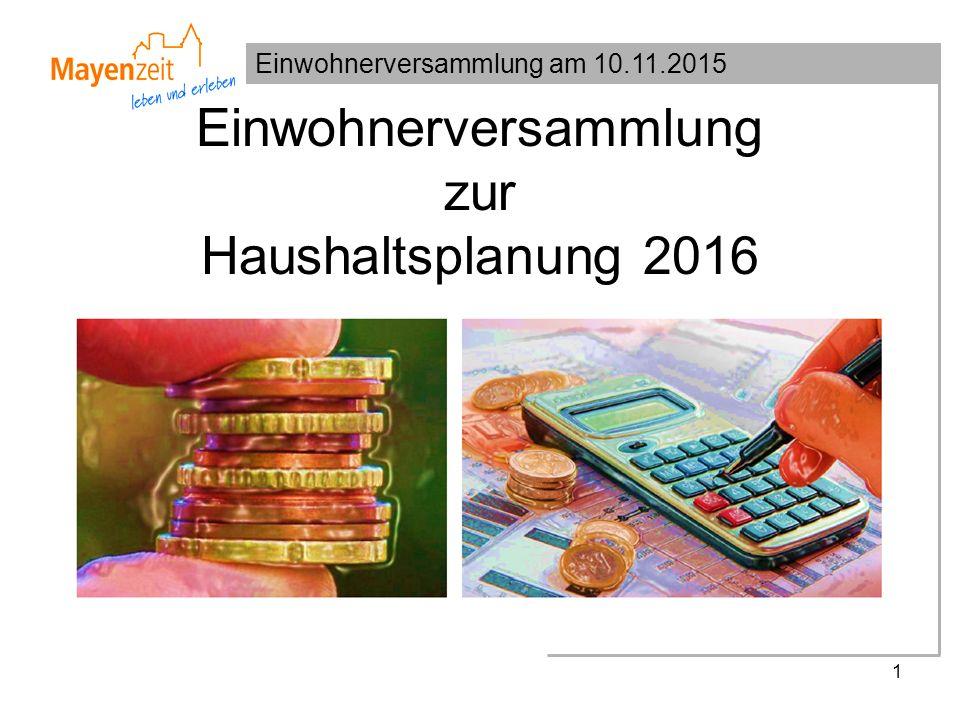 Einwohnerversammlung am 10.11.2015 Einwohnerversammlung zur Haushaltsplanung 2016 1