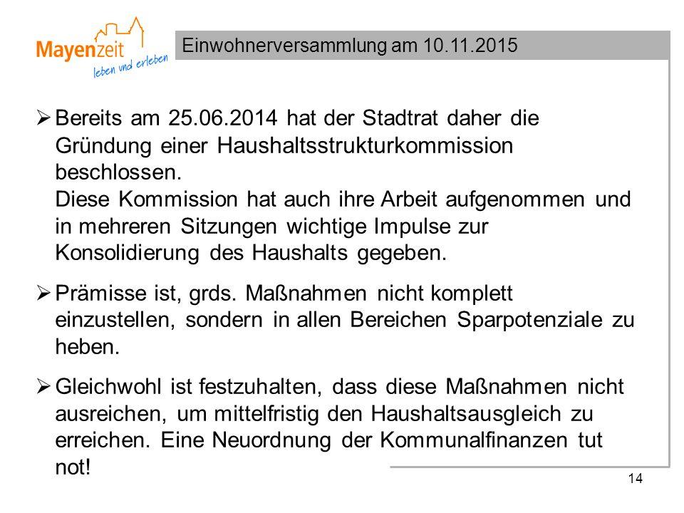 Einwohnerversammlung am 10.11.2015 14  Bereits am 25.06.2014 hat der Stadtrat daher die Gründung einer Haushaltsstrukturkommission beschlossen. Diese
