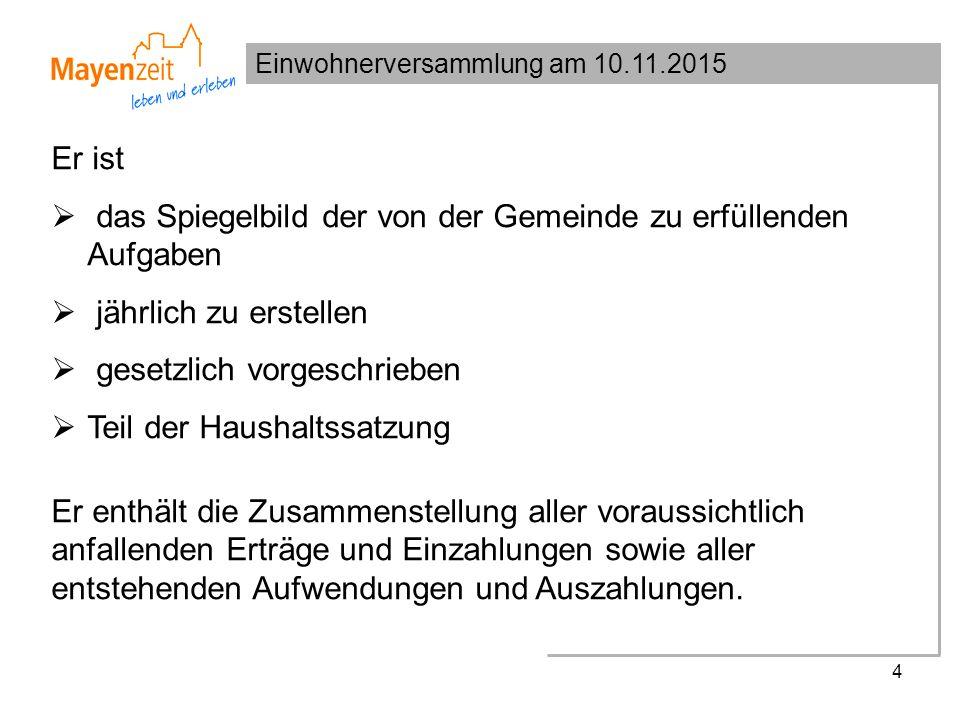 Einwohnerversammlung am 10.11.2015 15 Wesentliche Zuschusspositionen im Ergebnishaushalt:  Schulen, Soziales, Sport: 2,34 Mio.