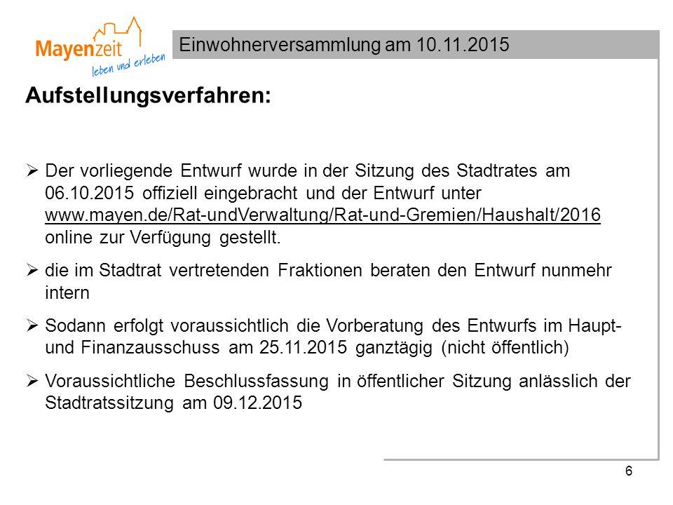 Einwohnerversammlung am 10.11.2015 6 Aufstellungsverfahren:  Der vorliegende Entwurf wurde in der Sitzung des Stadtrates am 06.10.2015 offiziell eingebracht und der Entwurf unter www.mayen.de/Rat-undVerwaltung/Rat-und-Gremien/Haushalt/2016 online zur Verfügung gestellt.