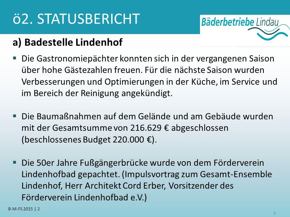 ö2. STATUSBERICHT a) Badestelle Lindenhof  Die Gastronomiepächter konnten sich in der vergangenen Saison über hohe Gästezahlen freuen. Für die nächst