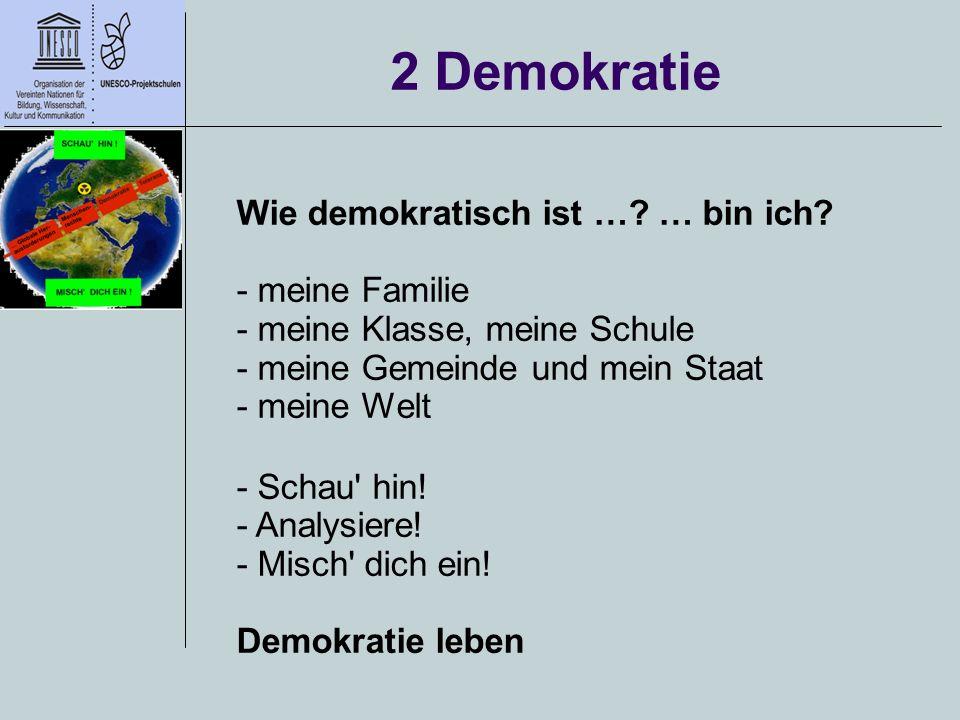 2 Demokratie Wie demokratisch ist …? … bin ich? - meine Familie - meine Klasse, meine Schule - meine Gemeinde und mein Staat - meine Welt - Schau' hin