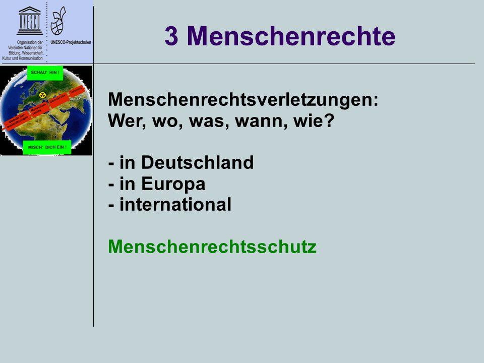 3 Menschenrechte Menschenrechtsverletzungen: Wer, wo, was, wann, wie? - in Deutschland - in Europa - international Menschenrechtsschutz