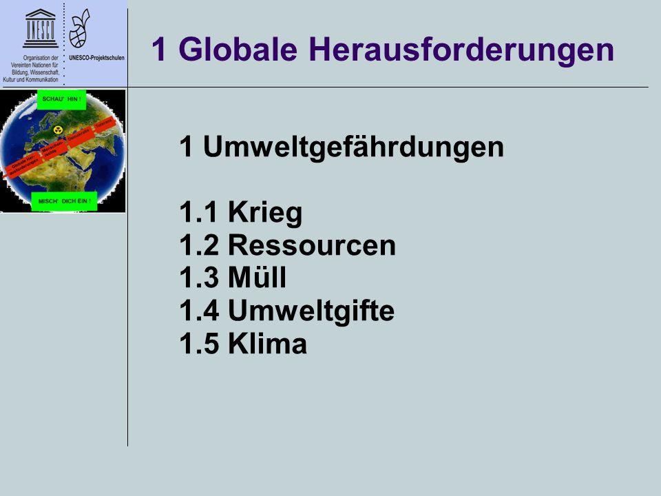 1 Globale Herausforderungen 1 Umweltgefährdungen 1.1 Krieg 1.2 Ressourcen 1.3 Müll 1.4 Umweltgifte 1.5 Klima